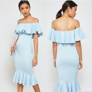 Missguided NWT Bardot Frill Fishtail Dress Blue